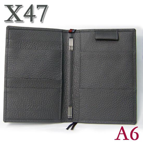 X47 ドイツ製 システム手帳 A6 タイマー シュリンクレザー グレー