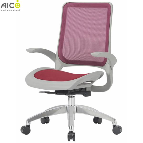 【送料無料】オフィスチェア 肘付き 座メッシュ アルミ脚 ミドルバック デスクチェア パソコンチェア OAチェア 事務椅子 ワークチェア ミドルバックチェア PCチェア オフィスチェアー チェア チェアー 椅子 いす イス オフィス家具 Aico アイコ【法人様限定】