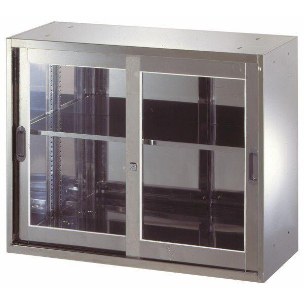【送料無料】 ステンレス収納庫 W900D500H720 引違い ガラス戸 書庫 ステンレス 壁面収納 車上渡し