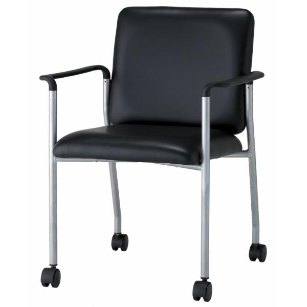 【送料無料】【2脚セット】 ミーティングチェア 肘付 ブラック W570×D563×H783 GD-534 事務椅子 チェア キャスター セット オフィス家具【smtb-k】