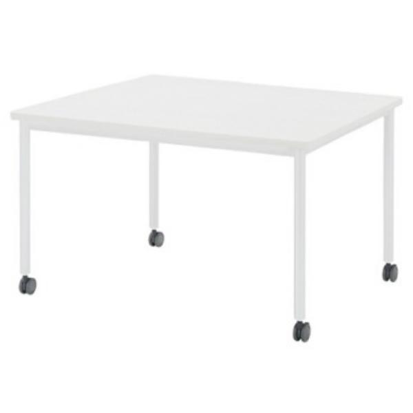 【法人限定】会議テーブル 角型 幅1200×奥行1200×高さ720mm ソフトエッジ キャスタータイプ 4本脚 AWB-1212KC ペールウッド ホワイト テーブル 会議用テーブル ミーティングテーブル NISHIKI ニシキ工業