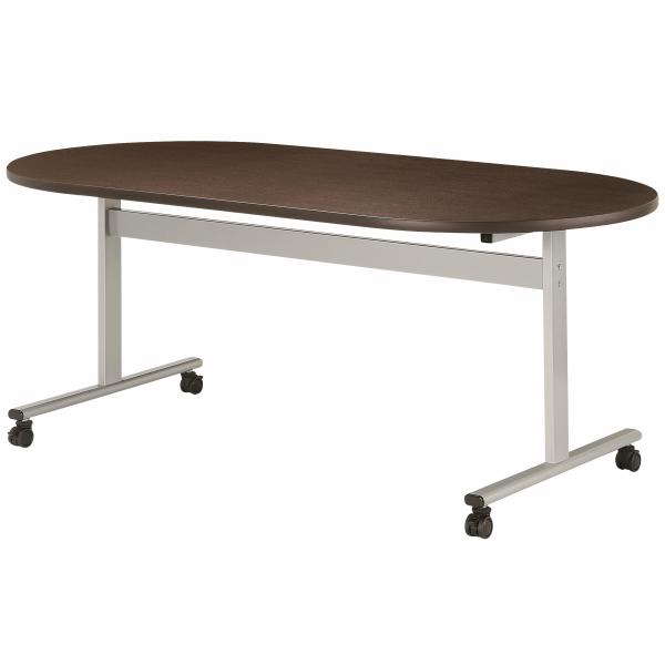 【法人限定】会議テーブル 楕円型 幅1800×奥行900×高さ720mm 対立脚 HIS-1890RC キャスタータイプ ダークウッド ペールウッド ニューグレー オフホワイト テーブル 会議用テーブル ミーティングテーブル NISHIKI ニシキ工業
