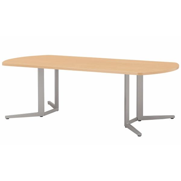【法人限定】会議テーブル 幅2100×奥行1000×高さ720mm 対立脚 KH スタンダードタイプ ボート型 ダークウッド ペールウッド オフホワイト テーブル 会議用テーブル ミーティングテーブル 会議机 NISHIKI ニシキ工業
