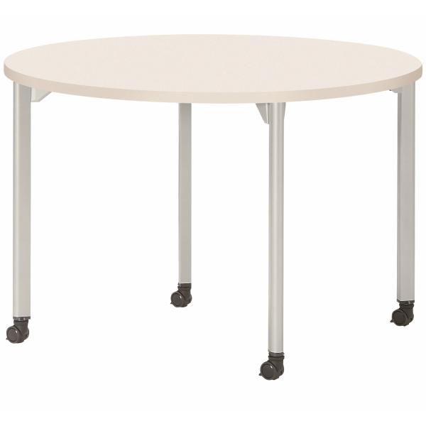 【法人限定】会議テーブル 丸型 1200φ×高さ720mm 4本脚 キャスタータイプ MDL-1200RC アルミダイキャストジョイント ダークウッド ペールウッド オフホワイト テーブル 会議用テーブル ミーティングテーブル NISHIKI ニシキ工業