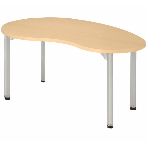 【法人限定】会議テーブル ビーンズ型 幅1500×奥行900×高さ720mm 4本脚 アジャスタータイプ MDL-1590BN アルミダイキャストジョイント ダークウッド ペールウッド オフホワイト テーブル 会議用テーブル ミーティングテーブル NISHIKI ニシキ工業