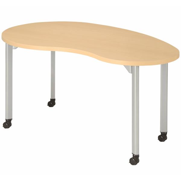 【法人限定】会議テーブル ビーンズ型 幅1500×奥行900×高さ720mm 4本脚 キャスタータイプ MDL-1590BNC アルミダイキャストジョイント ダークウッド ペールウッド オフホワイト テーブル 会議用テーブル ミーティングテーブル NISHIKI ニシキ工業