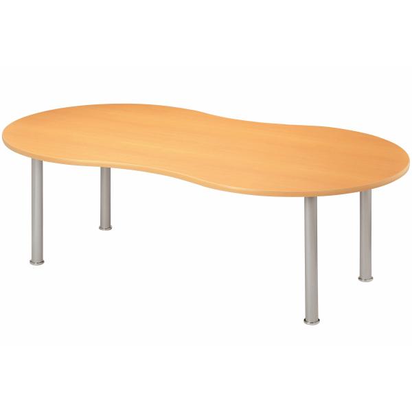 【法人限定】会議テーブル ピーナッツ型 幅2200×奥行1200×高さ700mm 4本脚 MME-2212P メープル ニューグレー アイボリー ホワイト テーブル 会議用テーブル ミーティングテーブル NISHIKI ニシキ工業