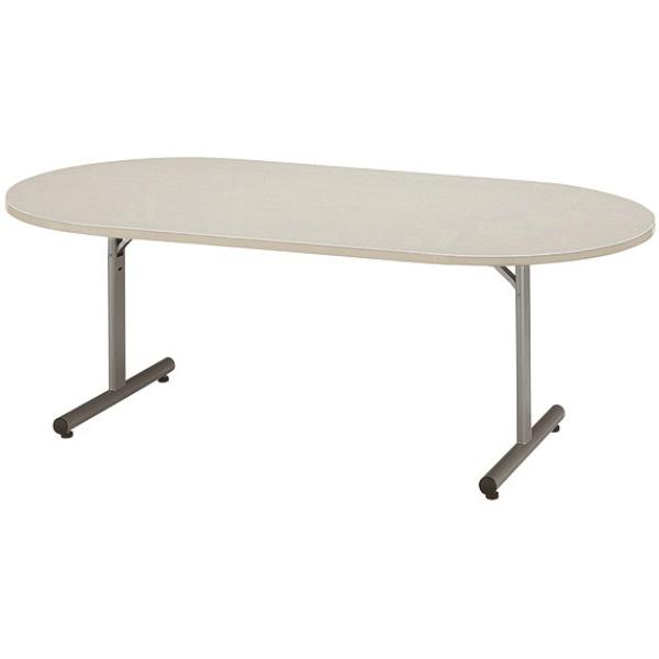 クリエイティブなミーティング空間に。 【法人限定】フォールディングテーブル 楕円型 幅1800×奥行900×高さ700mm T字脚 ソフトエッジ 折りたたみテーブル MTJ-1890R メープル ニューグレー アイボリー テーブル 会議テーブル 折畳 折り畳み 長机 ミーティングテーブル NISHIKI ニシキ工業