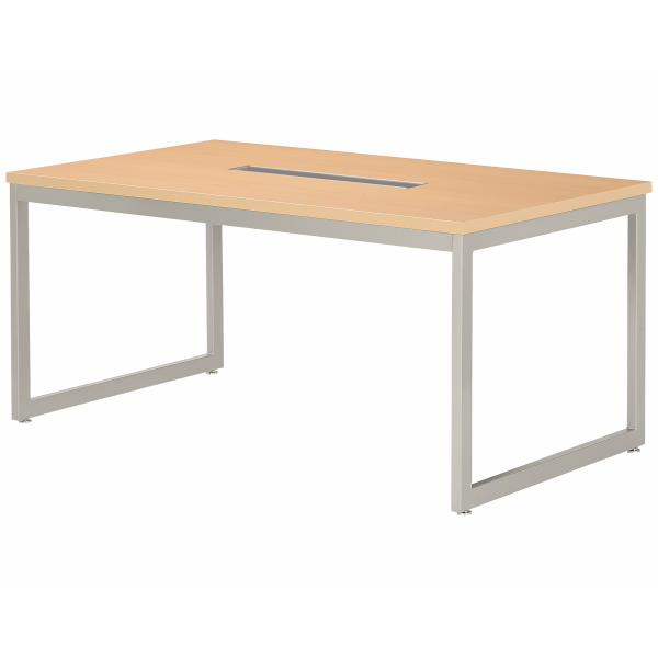 【法人限定】会議テーブル 幅1500×奥行900×高さ720mm 対立脚 QB-1590W ワイヤリングBOXタイプ ダークウッド ペールウッド オフホワイト テーブル 会議用テーブル ミーティングテーブル NISHIKI ニシキ工業