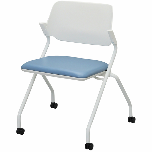 SYネスティングチェア 肘無し PVC アッシュブルー RFC-SYPAB アールエフヤマカワ RFyamakawa ミーティングチェア オフィスチェア キャスター付き 平行スタッキング 会議用チェア 会議椅子 オフィス家具
