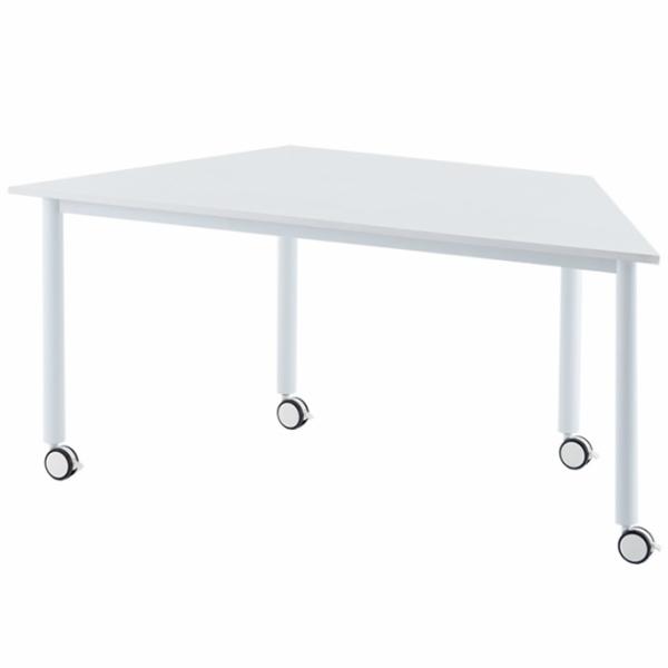 キャスターテーブル 台形 ホワイト RFCTT-WL8016DWH アールエフヤマカワ RFyamakawa キャスター付き オフィスデスク 事務机 ミーティングテーブル 会議テーブル 会議机 ミーティングデスク 会議用テーブル 机 オフィステーブル オフィス家具
