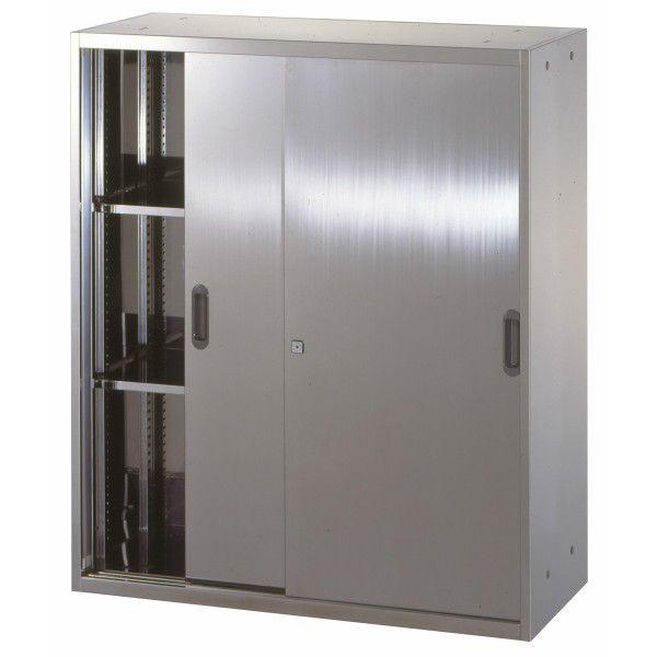 【送料無料】 ステンレス収納庫 W900D500H1050 引違い戸 書庫 ステンレス 壁面収納 車上渡し 【smtb-tk】