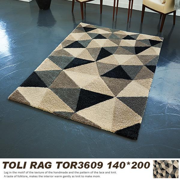 【東リ】 ラグマット TOR3609 140cm×200cm ラグマット 北欧 幾何学 アクセントラグ モダン 北欧 総柄 ワンルーム 家族 一人暮らし 1.5畳 東リ ラグ 日本製