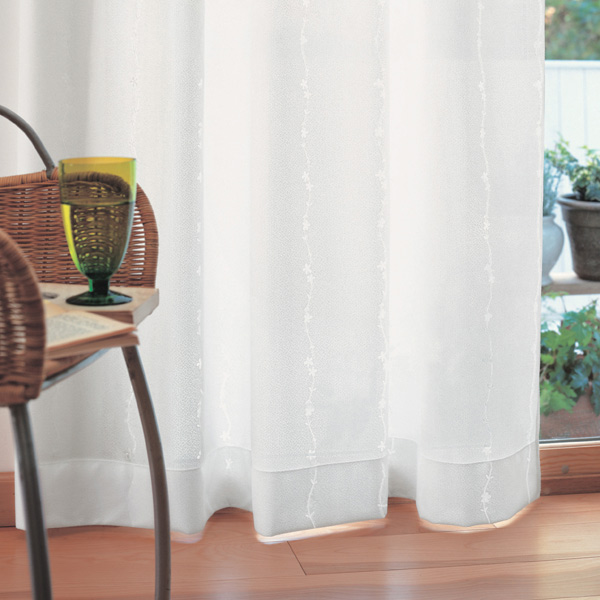 [プレーンシェード] コード式 ミラーカーテン(レース) パルメ BB4109-03 一人暮らし ファミリー オーダー プレーンシェード ストライプ柄 インフルエンザウィルス対策 ウォッシャブル 光消臭・抗菌 UVカット YESカーテン アスワン