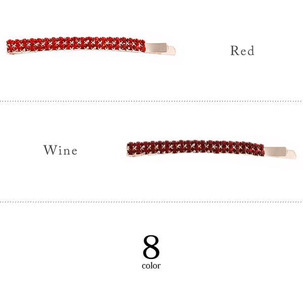 2連ラインストーンデザインヘアピン/ヘアアクセ3個購入でかわいい付箋プレゼント