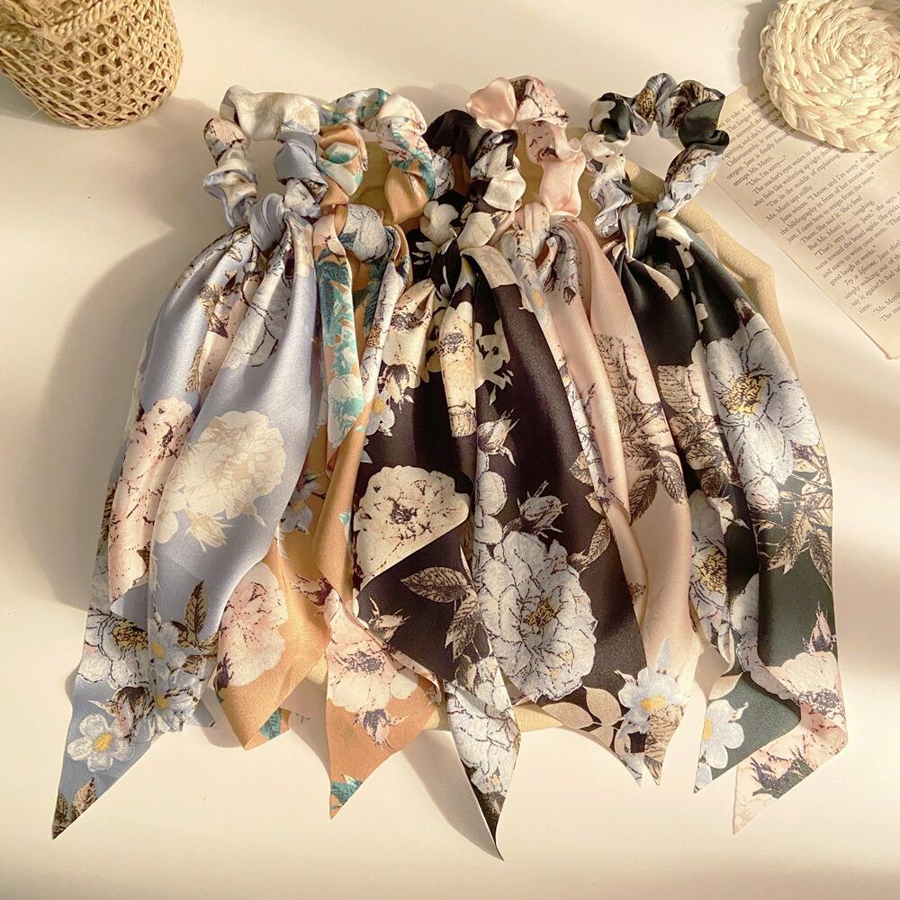ボタニカルデザインスカーフ結びシュシュ ロングサイズ大人 未使用 オンラインショッピング シック
