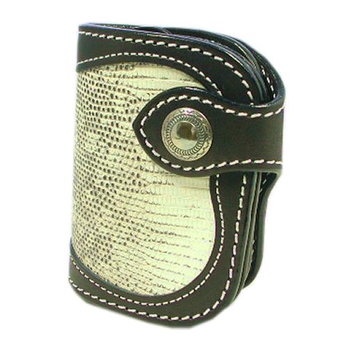 【ギフト ラッピング無料】二つ折り財布 ショートウォレット 黒/リングリザード【新品 未使用】