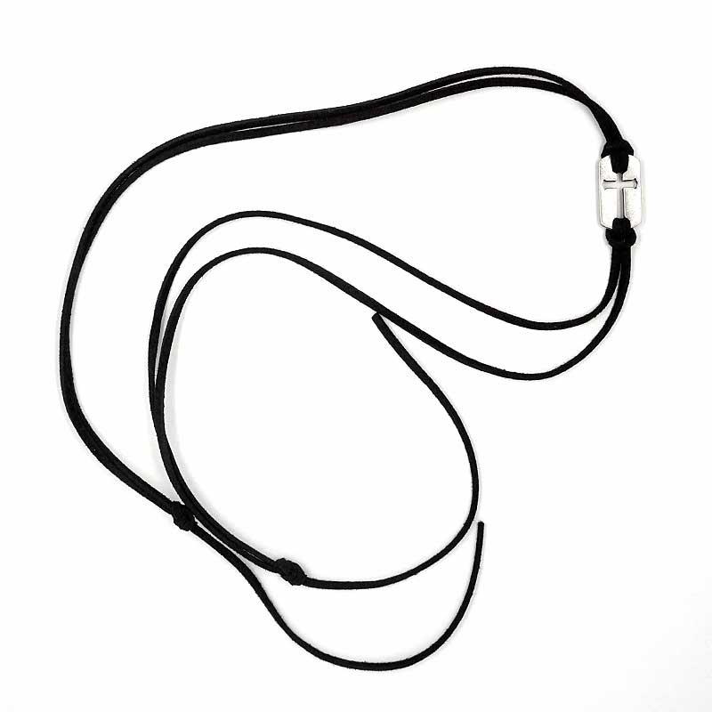 ロング革紐ブレスレット 巻くだけ簡単 NEW クロスプレート 買収 ブラック