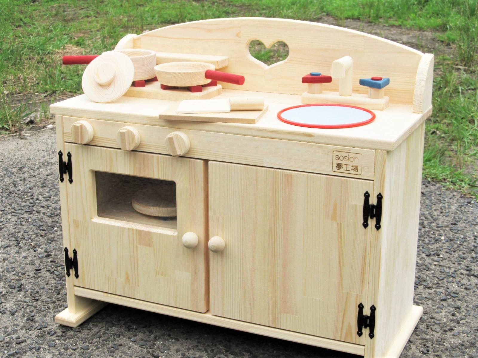 手作り 木製ままごとフルキッチン DHX 「吉野の桧製フライパンとお鍋つき!」(完成品です!)女の子 テ-ブルキッチン 木製 子供 木のおもちゃ 出産祝い ごっこ遊び クリスマス バースデ- ままごとキッチン 手作り 吉野桧(ホーローの縁の色は赤になります)