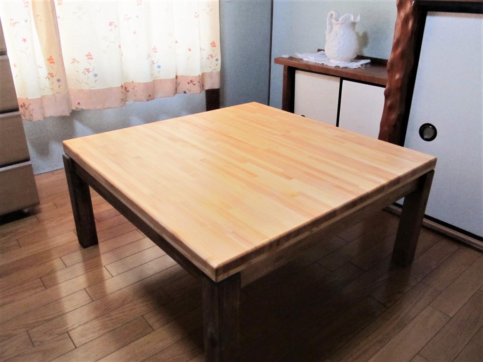 手作り木製 ローテーブル「こたつにも使ってね」 テーブル こたつ ホットカーペット 一人暮らし(家財便で配送になりますので、代金引換はできません。ご了承下さい)