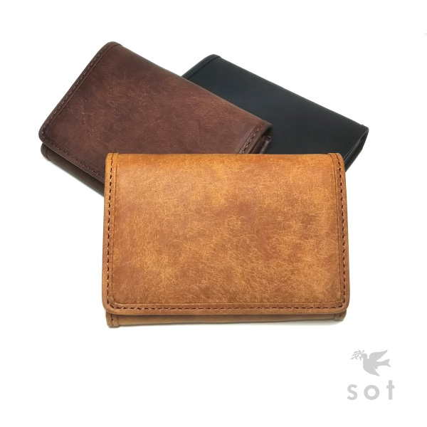 sot (ソット) プエブロ レザー コイン&カードケース ボックス型コインケース クレジットカードサイズ 本革 キャメル/ダークブラウン/ブラック