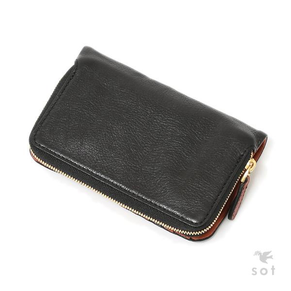 8ca914984afd 【送料無料】 SCORCH レザー 袋縫いミドルウォレット 本革 日本製 財布 ブラック /