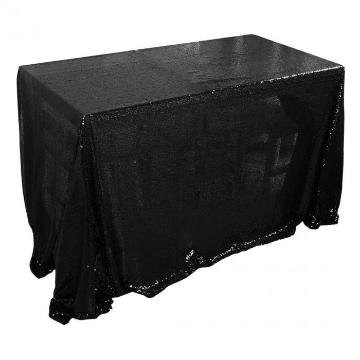ソウテン uxcell テーブルクロス 食卓カバー 北欧 ぎらぎら スパンコール 結婚式 パーティー 225x330cm 長方形 ブラック
