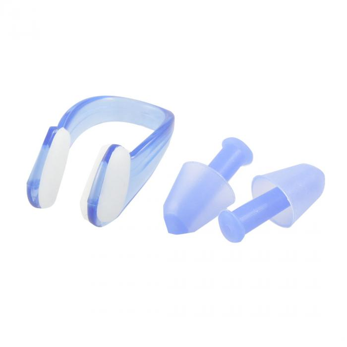 ソウテン uxcell 耳栓+ノーズクリップ PVC水泳ノーズクリップの耳栓クリア プラスチックケース ブルー シリコーン 15日発送予定