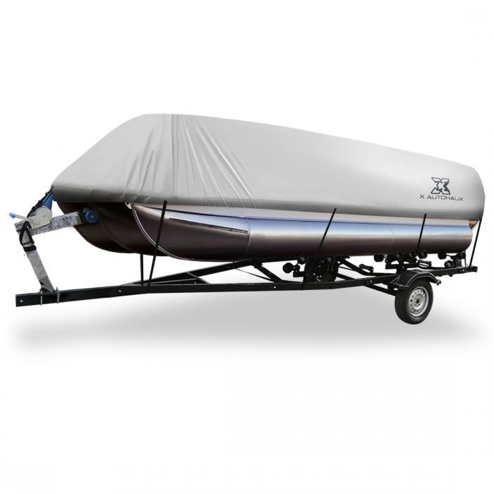 ソウテン uxcell ボートカバー 300D 防水トレーラブル 角形ボート用 グレー 518-610cm