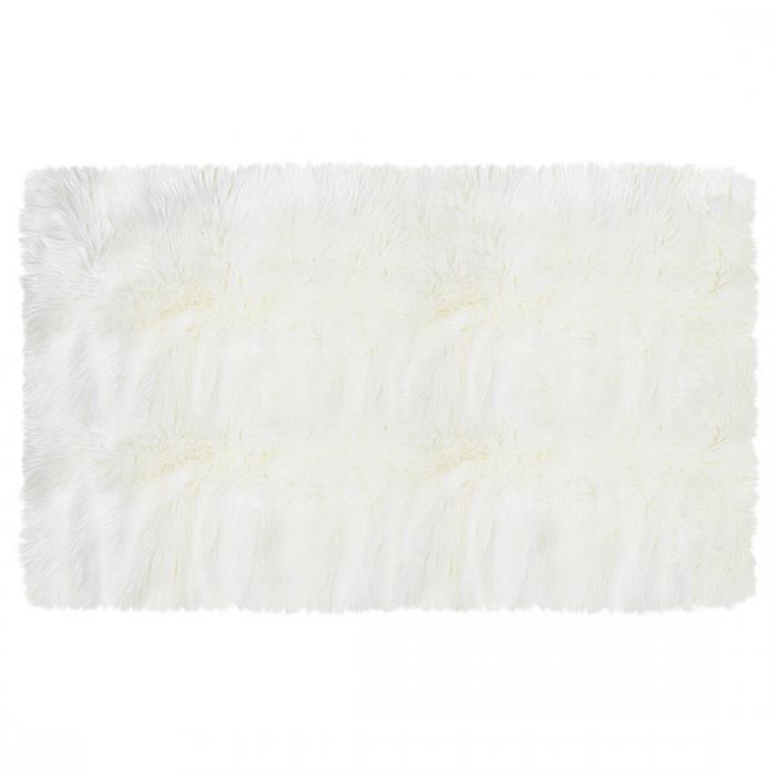 ソウテン uxcell フェイクシープスキンエリアラグ 室内用ソフトフラッフカーペット ベッドルームフロアマット 白い 3x5フィートの長方形