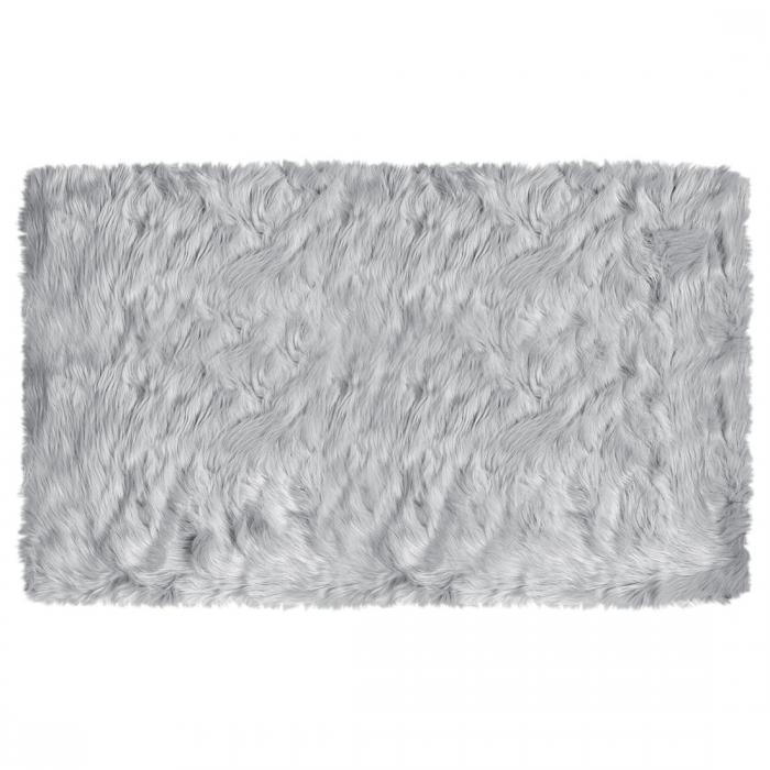 ソウテン uxcell フェイクシープスキンエリアラグ 室内用ソフトフラッフカーペット ベッドルームフロアマット ライトグレー 3x5フィートの長方形