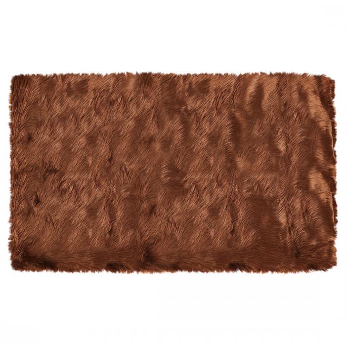 ソウテン フェイクシープスキンエリアラグ 室内用ソフトフラッフカーペット ベッドルームフロアマット コーヒー色 3x5フィートの長方形