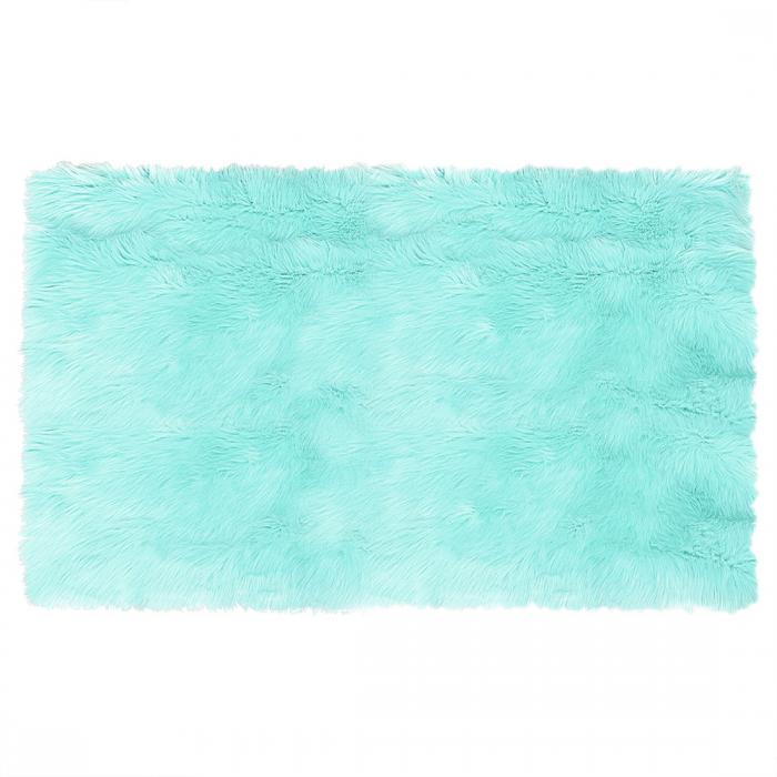 ソウテン フェイクシープスキンエリアラグ 室内用ソフトフラッフカーペット ベッドルームフロアマット ライトブルー 3x5フィートの長方形