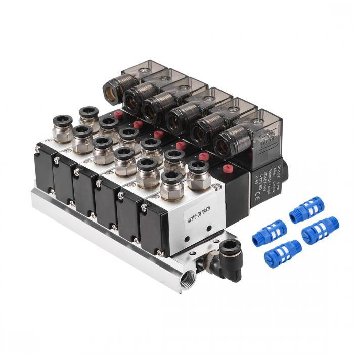 ソウテン uxcell エアコントロールソレノイドバルブ 4V210-08 DC 12V 5ウェイ2ポジションBSPT 1/4 空気圧 7Fベース エキゾーストマフラー コネクタ