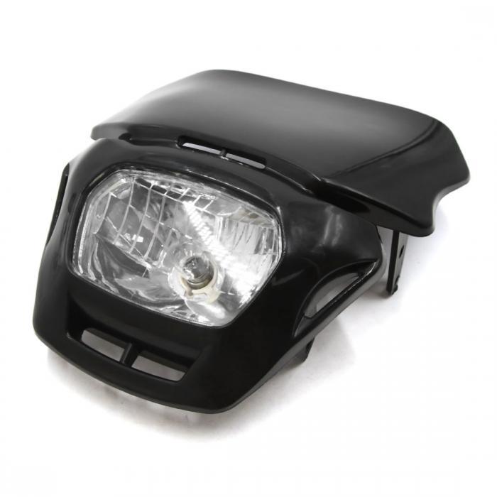 ソウテン uxcell ヘッドライト ブラック シェル オートバイ ストリートファイター ホワイト ヘッドランプ w ラバー ストラップ