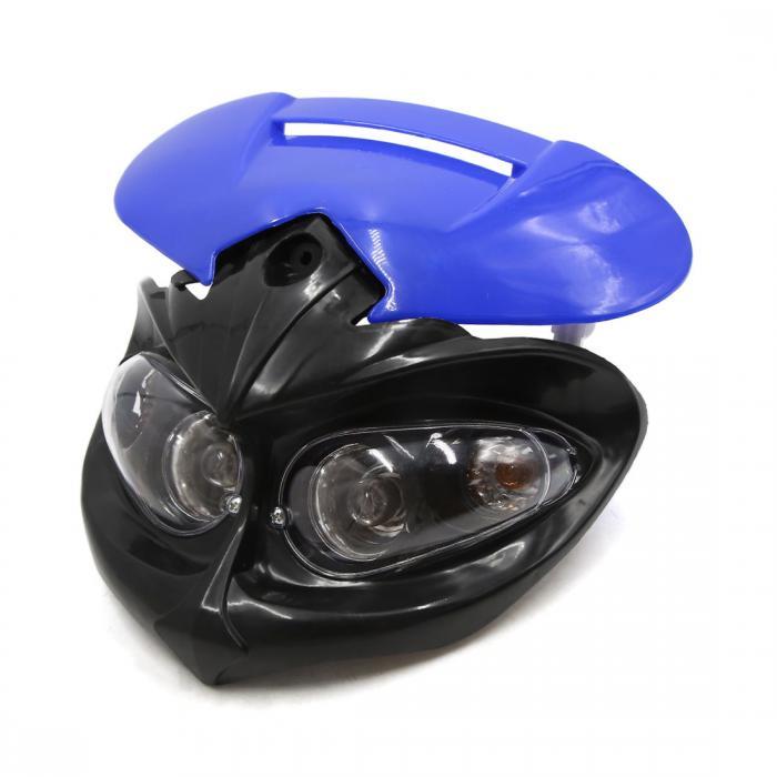 ソウテン ヘッドライト ユニバーサル ブラック ブルー プラスチック シェル オートバイ ストリートファイター ホワイト