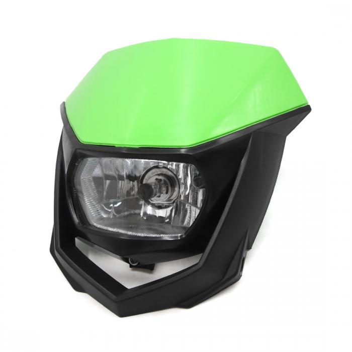 ソウテン uxcell ヘッドライト ブラック グリーン プラスチック シェル オートバイ ストリートファイター ホワイト ランプ