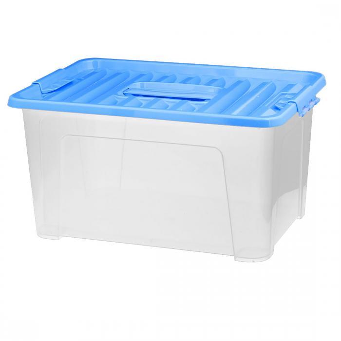 ソウテン 小物収納箱 パーツケース プラスチック ハンドル付き ブルー 38.1x26.8x20.2cm