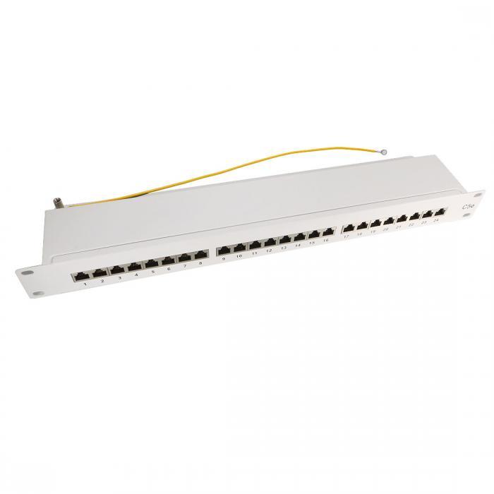 ソウテン 24ポートCat5e RJ-45ネットワークパッチパネル 冷間圧延鋼製 ホワイト パッチパネルラック