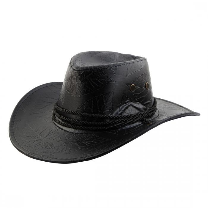 ソウテン uxcell カウボーイハット 日よけ帽 帽子 紫外線対策 アウトドア ブラック ウエスタンハット コードロック チンストラップ 1個入り