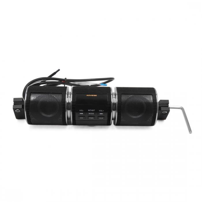 ソウテン 防水オーディオラジオステレオスピーカー MP3プレーヤー オートバイ用 ブラック:ソウテン