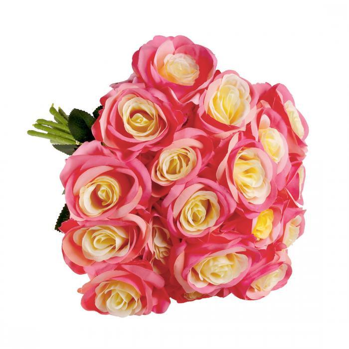 ソウテン 造花 インテリア 人工花 ブーケ シルクローズ フラワー 花束 結婚式 ウェディング装飾 ホームデコレーション 手作り 綺麗 18個 ピンクエッジ