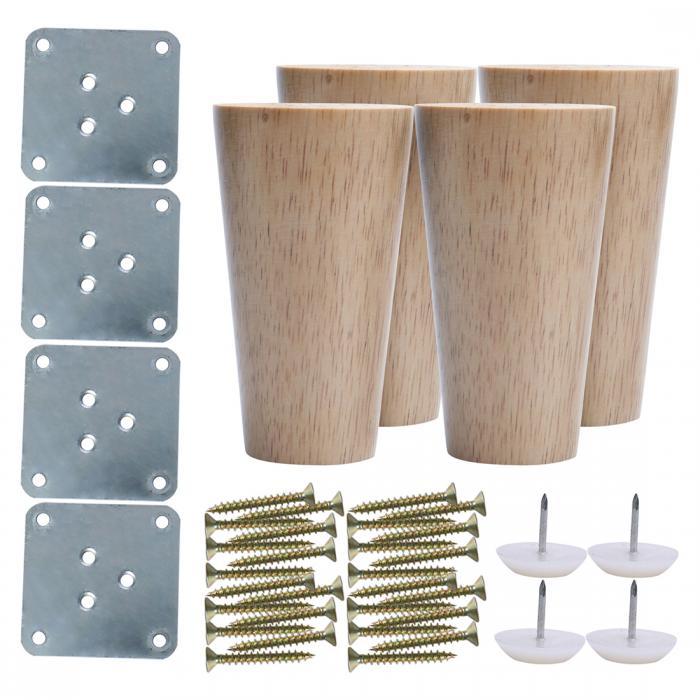 ソウテン uxcell 家具の脚 ネジ付き 高さ10cm 上直径6cm 下直径4cm 脚アクセサリ交換用高さアジャスター 木製 4個入り