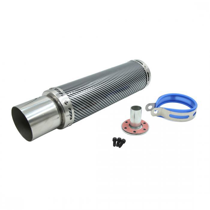 ソウテン uxcell 排気パイプ マフラー ファイバーパターン ステンレス製 シルバートーン 内径30mm