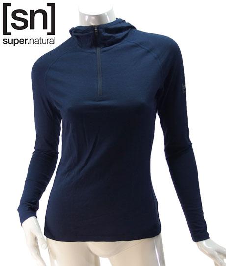 【sn】super.natural スーパーナチュラル レディース W BASE HOODED 1/4 ZIP 175 / 長袖Tシャツ W004180-196