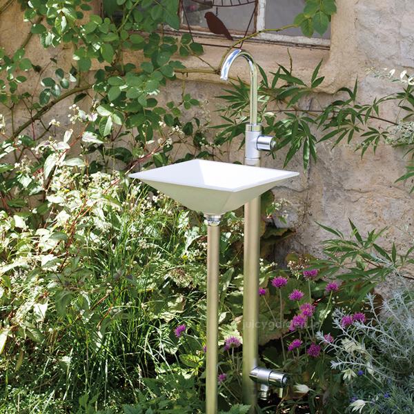 手洗い場 庭 立水栓 水栓柱お庭のおしゃれな手洗い場に「ジラーレWスワンネック+手洗器セット (水栓柱+蛇口2個+手洗器)」【送料無料】