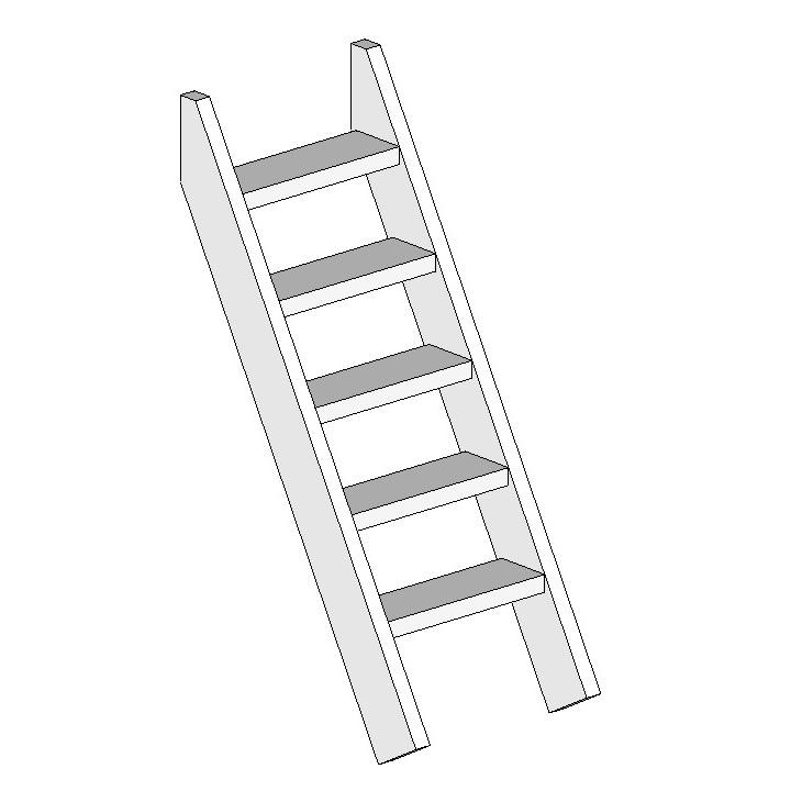 DIY 屋外 木製 家庭用遊具作成用パーツ 「はらっぱギャング はらっぱBASEオプション 階段はしご H1500(エコアコールウッド)」 【送料無料対象外】 自作