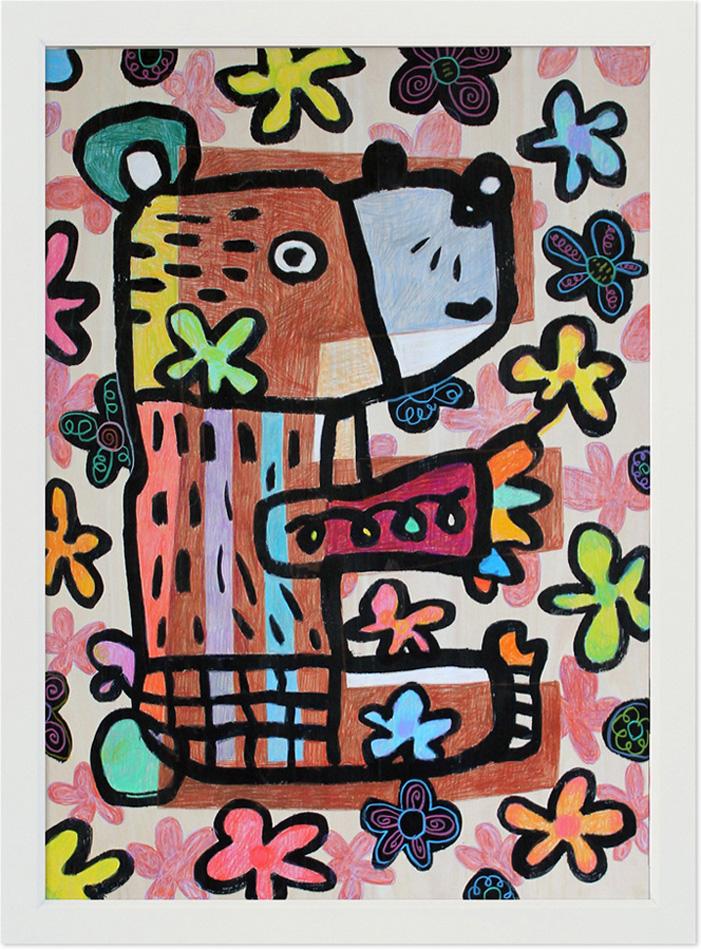 """送料無料】 新作絵画 : 小西慎一郎 """"お花畑のクマ""""/ アート  A2(594mm×424mm)"""