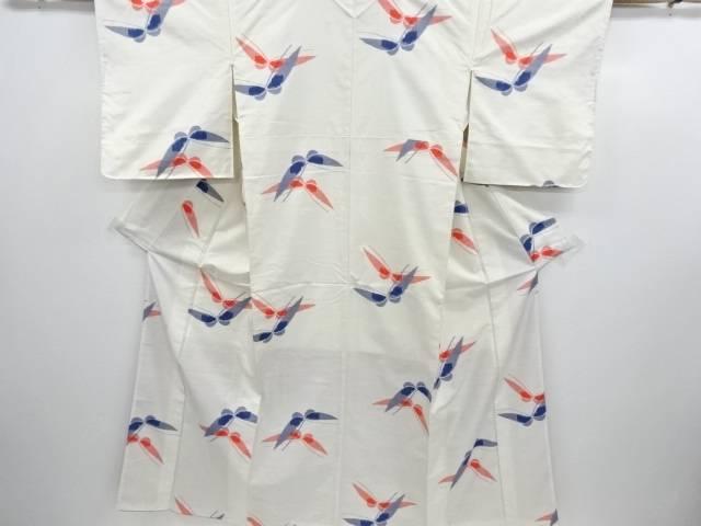 蝶模様織り出し手織り真綿紬着物【リサイクル】【中古】【着】 宗sou