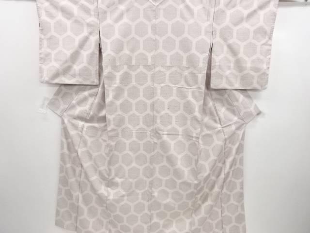 亀甲模様織り出し手織り紬着物【リサイクル】【中古】【着】 宗sou